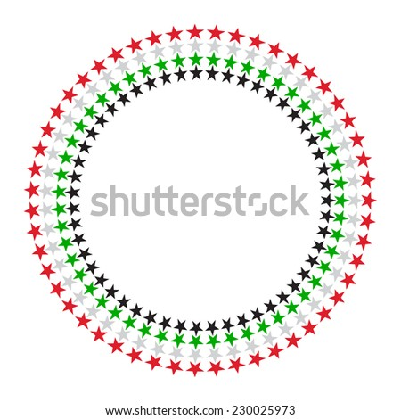 A vector round border made with United Arab Emirates flag colours and star graphic. - stock vector
