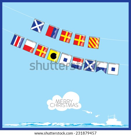 A vector set of Nautical flags with letters of Merry Christmas - stock vector