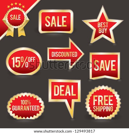 A vector set of retail badges and labels for sales, promotions, special offers, and more. This file is layered and each badge can easily be separated from the background in the .eps file. - stock vector