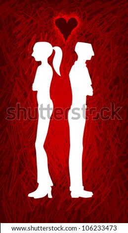 A vector silhouette of a heterosexual couple standing with their backs toward each other, indicating they're having a fight or some disagreement or relationship tension. - stock vector