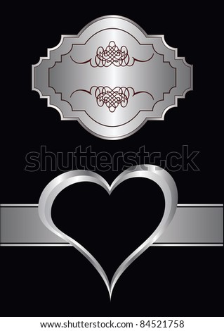 A vector valentines background with silver hearst on a black backdrop  with a silver plaque and  room for text - stock vector
