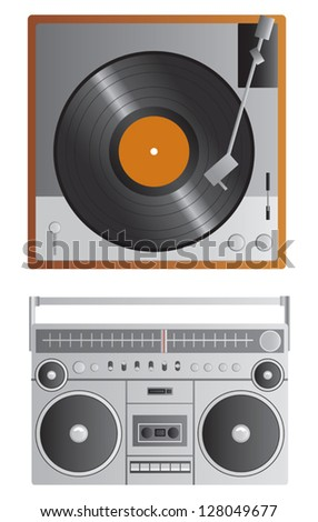 A vector vintage turntable and a vintage 1980s style boom box. - stock vector