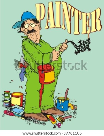 a very curious and amusing painter - stock vector