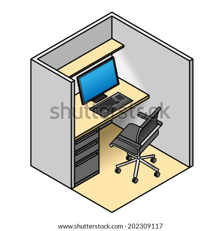 very small office cubicle with a computer, drawer cabinet, and a
