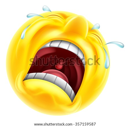 A very upset sad crying emoji emoticon smiley face character with tears shooting out  - stock vector