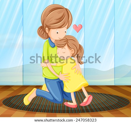 A view of a child hugging her mother - stock vector