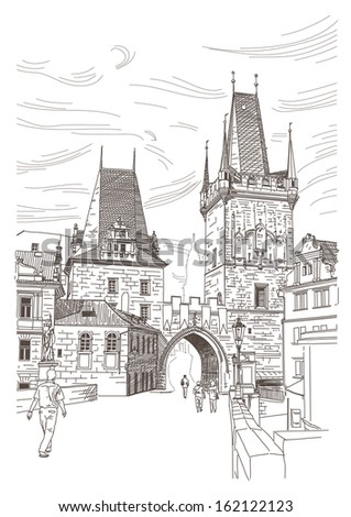 A view of the bridge tower at the end of the Charles Bridge, Prague, Czech Republic - stock vector