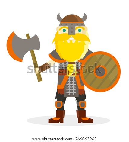 a viking warrior with his axe and wooden shield - stock vector