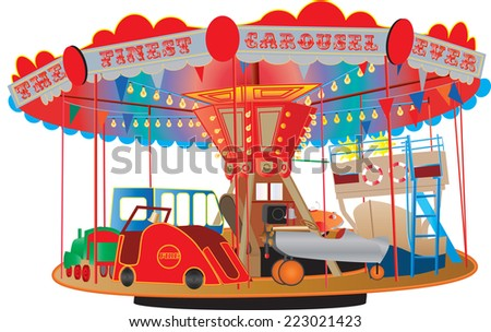 A Vintage Fairground Roundabout or Carousel with a fire engine,airplane,ship,bus,steam engine and a car isolated on white. - stock vector