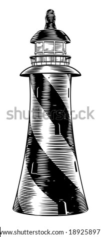 A vintage retro woodblock style light house drawing - stock vector