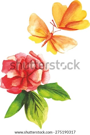 A vintage-styled watercolor drawing of a rose and a butterfly, scalable vector - stock vector