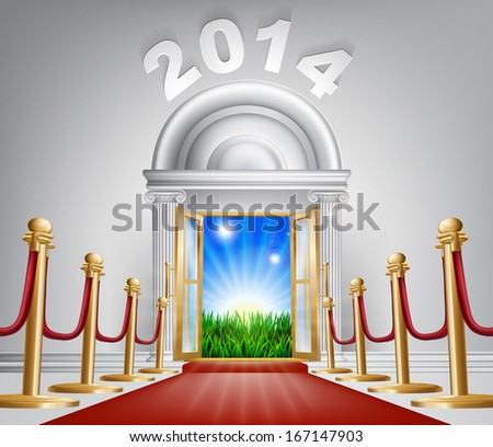 A VIP door opening to reveal a sunrise and beautiful green landscape. Perhaps a concept for hope for the future. - stock vector