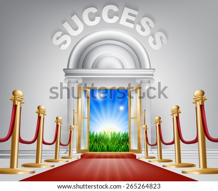 A VIP success door opening to reveal a sunrise and beautiful green landscape. Perhaps a concept for hope for the future. - stock vector