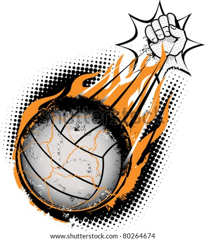 A volleyball being spiked so hard that it combusts - stock vector
