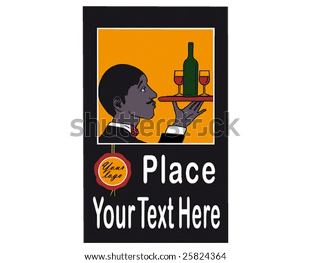 A waiter carrying a red wine bottle and two glasses on a tray. Early 20th century style advertisement poster. - stock vector