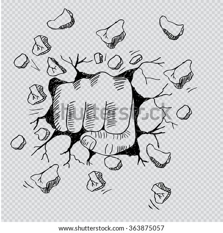 a wall is broken through by a fist. Hand drawing illustration. - stock vector