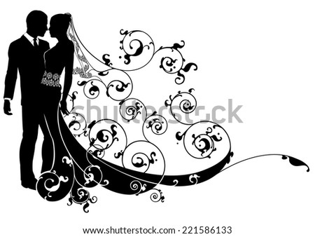 A wedding illustration of a bride and groom dancing or about to kiss - stock vector