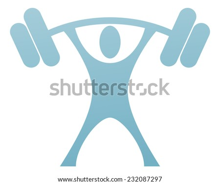 A weight lifter icon of a strong stylised man lifting a heavy weight - stock vector