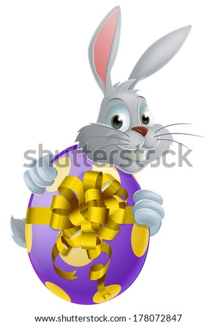 A white Easter bunny peeking around a giant Easter egg - stock vector