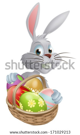A white Easter bunny rabbit with a basket of chocolate Easter eggs - stock vector