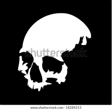 A white vector skull on black background - stock vector