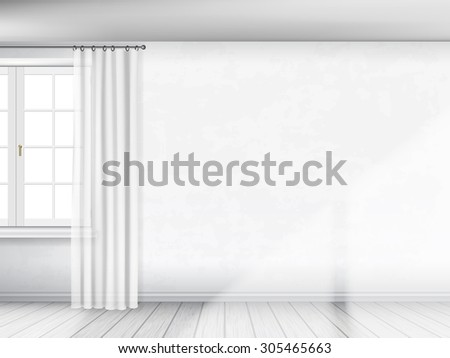 A white wall with a window and curtains. Partial view of interior. Architectural realistic vector background. - stock vector
