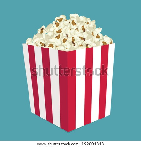 A wide classic box of theater popcorn  - stock vector