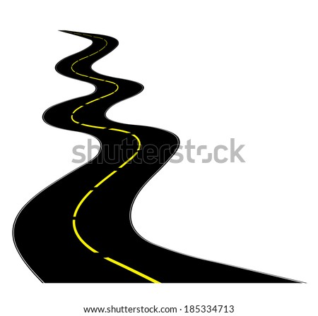 A winding road on white - stock vector