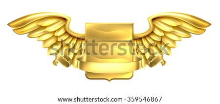 A winged gold golden metal shield heraldic heraldry coat of arms design with a banner scroll - stock vector