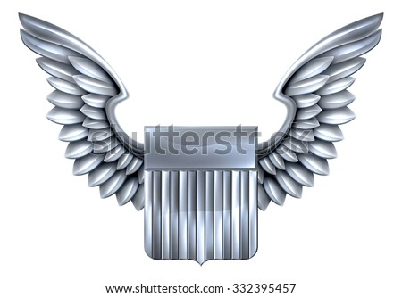A winged silver or steel metal shield heraldic heraldry coat of arms design with United States flag stripes - stock vector