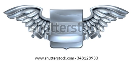 A winged silver steel metal shield heraldic heraldry coat of arms design with a banner scroll - stock vector