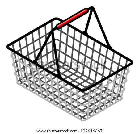 A wire shopping basket with a red plastic handle. - stock vector