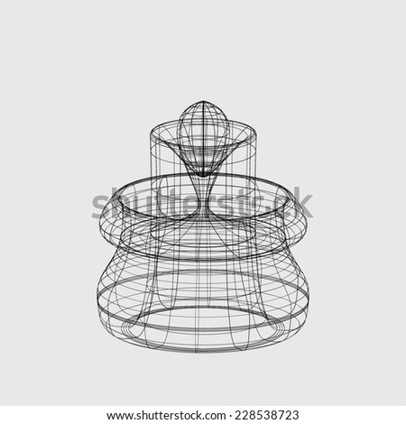 A Wireframe design isolated on a grey background - stock vector
