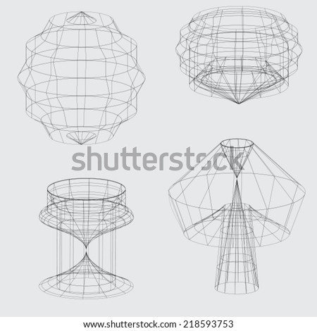 A Wireframe of various shapes on grey background - stock vector