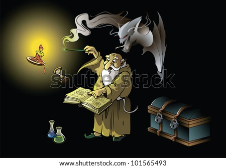 A wizard summoning ghostly demon, casting spells with magic wand, vector illustration - stock vector