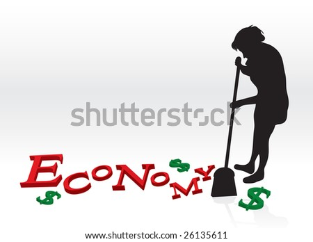 A woman cleaning up the bad economy by sweeping up the letters and dollar signs with her broom. - stock vector