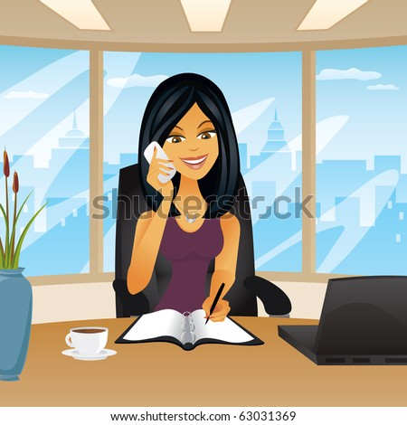 A woman in an office setting on the phone writing in a notebook. - stock vector