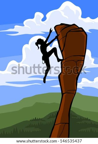 A woman rock climber about to reach the top of an obstacle. - stock vector