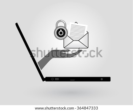 a woman's hand comes out of a laptop screen and gives an email - stock vector