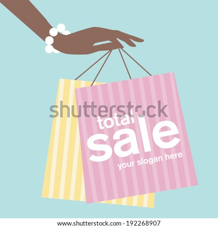A woman's hand holding shopping bags - stock vector