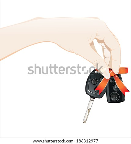 A woman's hand holds car keys and electronic door unlock - stock vector