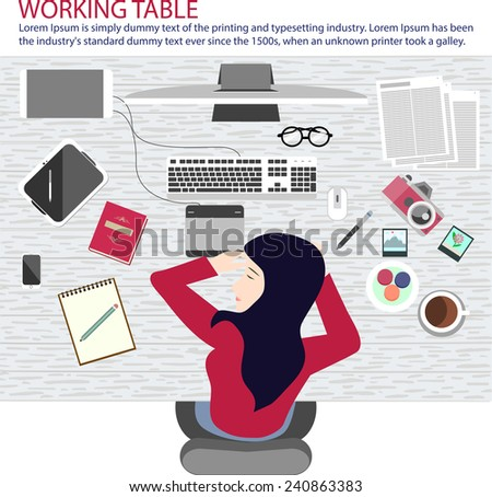 A woman taking a nap on working table. - stock vector