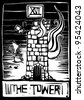 A woodcut style tarot card for the number 16 the tower. - stock vector