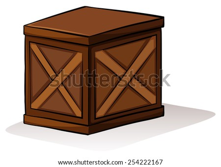 A wooden box on a white background - stock vector