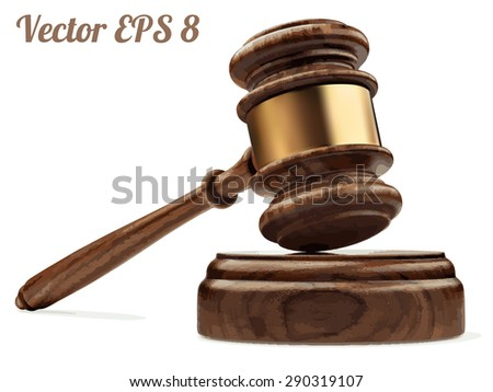 A wooden judge gavel and soundboard, vector illustration EPS 8. - stock vector