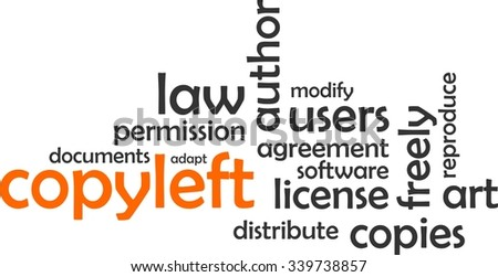 A word cloud of copyleft related items - stock vector
