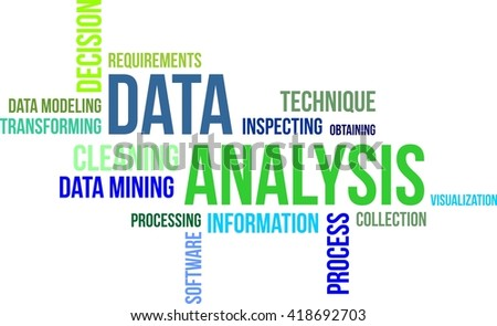 A word cloud of data analysis related items - stock vector