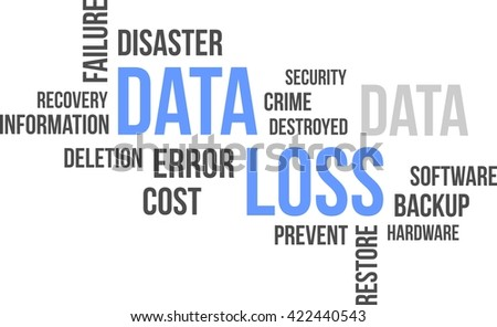A word cloud of data loss related items - stock vector