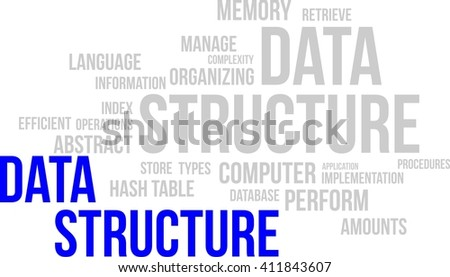 A word cloud of data structure related items - stock vector