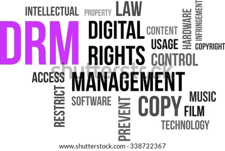 A word cloud of digital rights management related items - stock vector